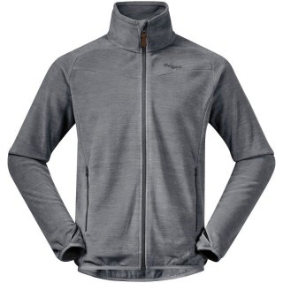 Bergans Hareid Fleece Jacket NoHood - Polartec® Fleecejacke Herren aluminum melange / solid dark grey 54 / XL