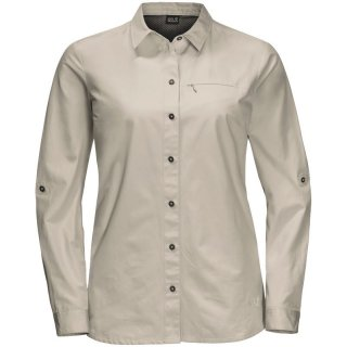 Jack Wolfskin Lakeside Roll-Up Shirt Women - mückensichere Reisebluse/Langarm-Bluse Damen dusty grey M / 40
