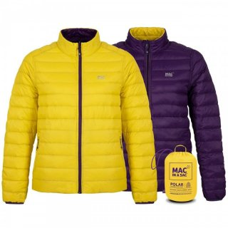 MAC IN A SAC Womens Polar - Wende-Daunenjacke Damen mit Packbeutel yellow/grape 38 / S