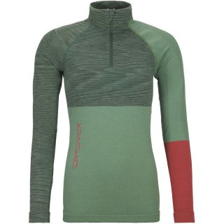 ORTOVOX 230 Competition Zip Neck Women | warme Merinowolle-Funktionsunterwäsche Damen mit 1/4 Reißverschluss green isar blend XL